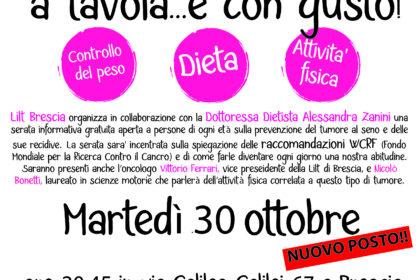 30 ottobre ancora posti per la serata informativa sulla prevenzione del tumore al seno e delle sue recidive